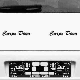 2 Carpe Diem 20cm schwarz Schriftzug Aufkleber Tattoo Auto die cut Deko Folie