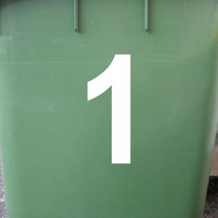 Ziffer 1 weiß 12cm Aufkleber Tattoo Nummer Zahl Hausnummer Haus Tür Mülltonne - Vorschau 2