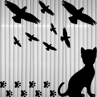 Set groß schwarz Katze Pfötchen Vögel Aufkleber Tattoo Schutz Fenster Glas Folie