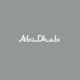 Schriftzug Abu Dhabi 10cm weiß Auto Tür Heck Fenster Aufkleber Tattoo Deko Folie