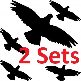2 Sets Aufkleber Habicht schwarz Vogel Glas Scheibe Schreck Abwehr Schutz Deko