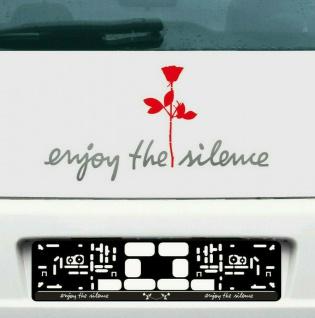 Enjoy the silence silber 45cm + Rose rot 20cm Autoaufkleber Tattoo Depeche Mode