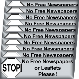 10 Aufkleber Stop No Free Newspapers or Leaflets Please post mail box cleaner