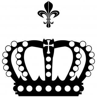 Krone 38cm + Lilie schwarz König Aufkleber Tattoo Auto Tür Fenster Deko Folie