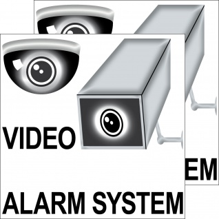 2 Aufkleber 20cm Sticker Video Kamera Alarm System Hinweis Haus Fenster Tür Tor