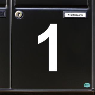 Ziffer 1 weiß 12cm Aufkleber Tattoo Nummer Zahl Hausnummer Haus Tür Mülltonne - Vorschau 3