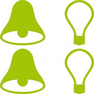 2 Sets Aufkleber 5cm grün Tattoo Tür Taster Schalter Lampe Licht Klingel Symbole