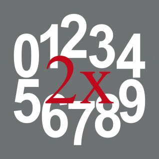 20 Aufkleber Tattoo 12cm weiß Zimmer Haus Tür Nummer Zahl Ziffer Hausnummer
