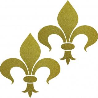2 Aufkleber Tattoo Florenz Lilie 8cm gold Fleur de Lis Deko Folie Klebefolie
