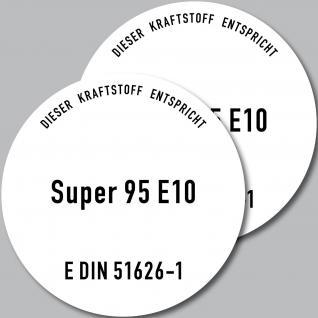 2 Aufkleber Sticker SUPER 95 E10 Benzin Hinweis Kanister Behälter Auto Pkw Tank