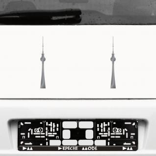 2 Aufkleber 20cm silber Tattoo Fernsehturm Berlin Alexanderplatz Auto Deko Folie