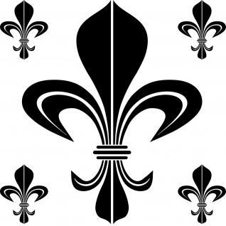 Set Bourbon Lilie schwarz Aufkleber Tattoo Fleur de Lis Deko Folie Klebefolie