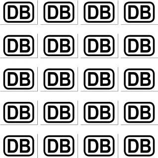 20 Mini Sticker 2cm Aufkleber DB schwarz Deutsche Bahn RC Modellbau Deko Zubehör