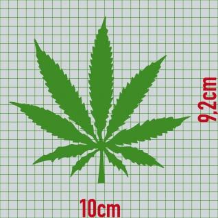 1 Hanf Blatt 10cm grün THC Gras Pflanze Marihuana Aufkleber Tattoo Deko Folie - Vorschau 2