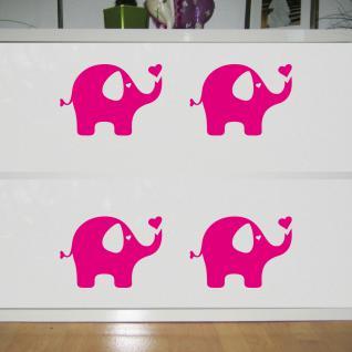 4 Aufkleber Tattoo Elefant pink 20cm Dumbo Deko Folie Kinder Zimmer Möbel Tür