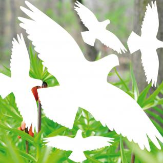 35cm Set Vogel weiß Aufkleber Tattoo Deko Fenster Scheiben Glas Schutz Folie