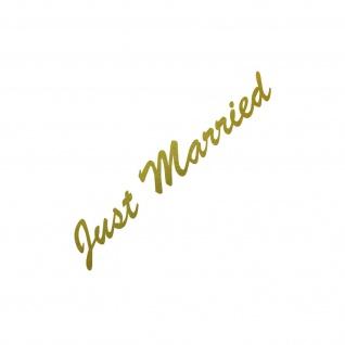 Just Married 30cm gold Aufkleber Tattoo Hochzeit Deko Folie Auto Heck Scheibe