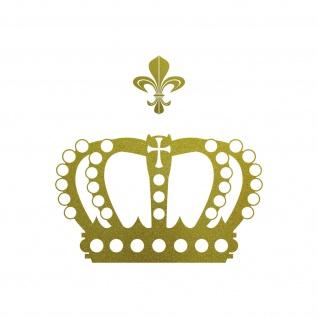 Krone mit Lilie 28cm gold Aufkleber Tattoo Deko Folie Auto Möbel Fenster Tür