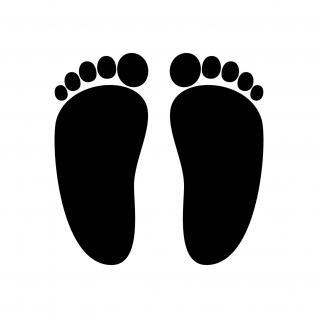 4 Paar 10cm schwarz Baby Fuß Abdruck Fußspur Aufkleber Tattoo die cut Deko Folie
