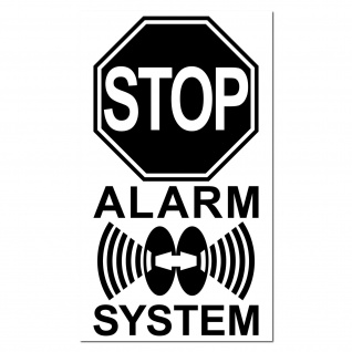 STOP Alarm System 4cm schw Aufkleber Sticker f Außenseite Fenster Rollladen Tür