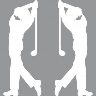 2 Aufkleber Tattoo 30cm weiß Golfspieler Golfer Golfsport Auto Tür Deko Folie