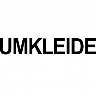 2 Aufkleber UMKLEIDE 35cm schwarz Schriftzug Tür Hinweis Beschriftung Deko Folie