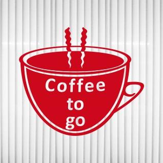 COFFEE TO GO Tasse rot Aufkleber Tattoo Deko Folie Schaufenster Logo Werbung