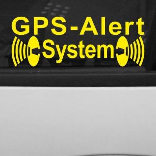 2 Aufkleber Tattoo gelb GPS Alert System Tracker Folie gespiegelt für Innenseite