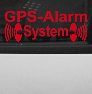 GPS Alarm System rot gespiegelt Innenseite Auto Scheibe Aufkleber Tattoo Folie