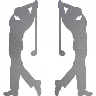 2 Aufkleber Tattoo 30cm silber Golfspieler Golfer Golfsport Auto Tür Deko Folie