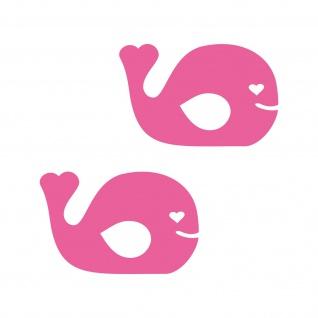 2 Aufkleber Fisch 10cm rosa Wal Tattoo Auto Kinder Zimmer Möbel Tür Deko Folie