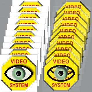 10+10 Aufkleber 5cm gelb Video Auge System Sticker Set für Innenseite Fenster