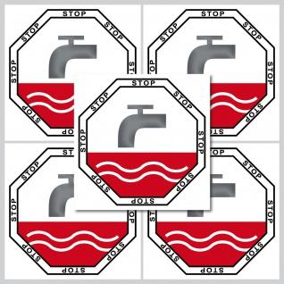 5 Aufkleber 5cm Sticker Stop Taste WC Bad 00 Toilette Wasser Spülung Spülkasten - Vorschau 2