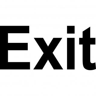 Aufkleber 13cm schwarz Exit Hinweis Schriftzug Tür Fluchtweg Tattoo Deko Folie