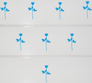 8 Rosen 10cm hellblau Aufkleber Tattoo Deko Folie Kinder Zimmer Schrank Komode