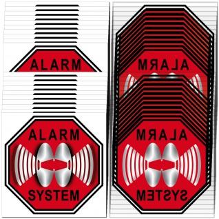 Stop Alarm System Aufkleber 5cm rot Set für 20 Fenster Glas Scheibe Innenseite