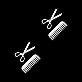 4 Aufkleber Tattoo 10cm weiß Schere Kamm Auto Fenster Folie Friseur Haarstudio