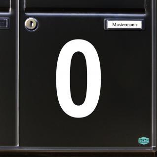 Ziffer 0 weiß 12cm Aufkleber Tattoo Nummer Zahl Hausnummer Haus Tür Mülltonne - Vorschau 3