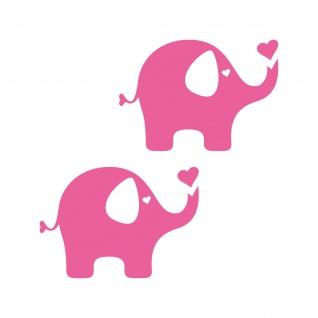 2 Aufkleber Elefant 10cm rosa Tattoo Dumbo Auto Möbel Tür Fenster Deko Folie