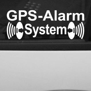 2 Aufkleber GPS Alarm System weiß gespiegelt Tattoo Deko Folie Auto Haus Fenster