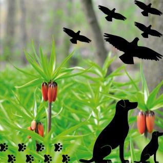 2 Hunde rechts + Pfötchen schwarz Aufkleber Tattoo Deko Folie Auto Balkon Tür