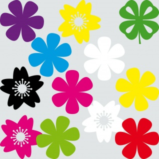 12 Aufkleber 10cm Tattoo Blümchen Blume Blüte Klee Hibiskus Auto Tür Heck Folie