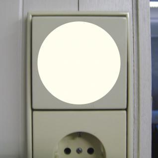 2 Aufkleber 6cm rund leuchtet im Dunkeln selbstleuchtende Folie Lichtschalter