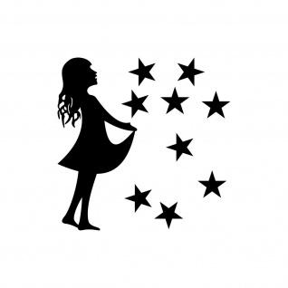 15cm Sterntaler + 2, 5cm Sterne schwarz Aufkleber Folie Sternfänger 4061963041864