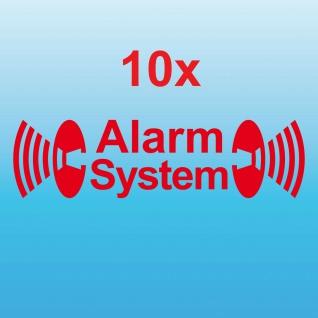 10 Alarm System rot gespiegelt Aufkleber Tattoo Auto Balkon Shop Fenster Scheibe