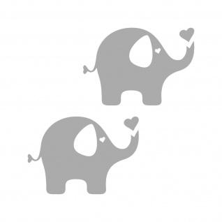 2 Aufkleber Elefant 10cm grau Tattoo Auto Möbel Tür Fenster Folie 4061963039564