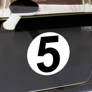 2 Aufkleber 20cm Start Nummer 5 Sticker Ziffer Zahl Racing Auto Motor Sport Kart