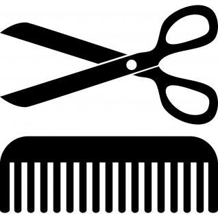 Set Aufkleber Schere Kamm 30cm schwarz Deko Folie Klebefolie Friseur Haarstudio