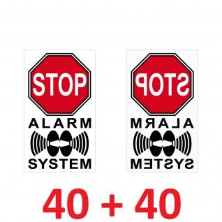 40+40 Aufkleber 4cm rot Stop Alarm System Hinweis Warnung für Innenseite Fenster