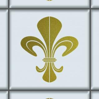 DM Schwert Lilie 8cm gold Aufkleber Tattoo Fliesen Spiegel Glas Tür Auto Folie